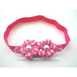 Bow Clippeez 2 Envy Hot Pink Gingham Flower Headband
