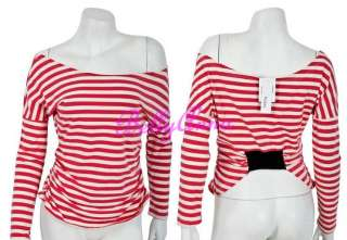 Sexy Women Off Shoulder Long Sleeve Stripes Clubwear Party HipHop Top