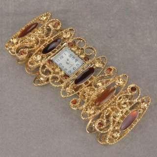 18k GP Gold Plated Enamel Diamante Ladies Luxury Charm Wrist Bangle