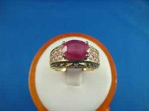 14K YELLOW GOLD, RUBY, DIAMOND & PINK SAPPHIRE RING