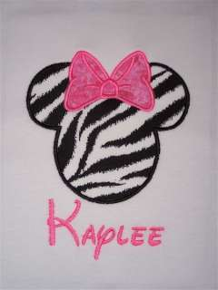 Personalized Custom MINNIE MOUSE Zebra Birthday Shirt P