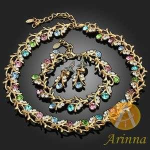 New Colorful branch Necklace Earrings Chain Set GP Swarovski Crystal