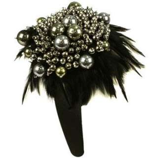 Feathers with Large Big Metallic Beads Hand made Handmade Wide Head