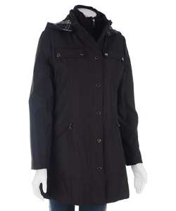 London Fog Womens Coat with Plaid Lined Hood