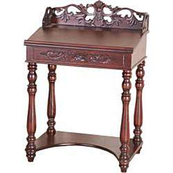 Shangri La Hand carved Small Wood Writing Desk