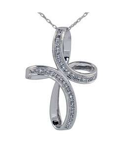 10k White Gold Diamond Swirl Cross Necklace