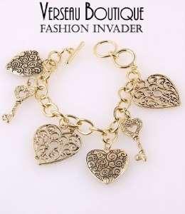 NEW Antique Silver Tone Heart & Key Charm Bracelet