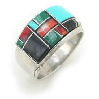 Mens Antiqued Sterling Silver Multicolor Inlay Ring s10