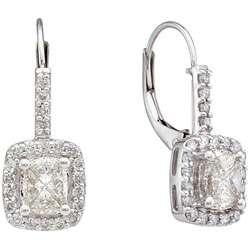 14k White Gold 1ct TDW Diamond Dangle Earrings (H I, SI2 I1