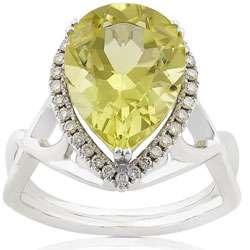 18k Gold Lemon Quartz and 1/5ct TDW Diamond Ring (H, VS SI