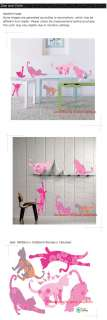 Pink Cat Instant Decoration Wall Sticker Decal EC09