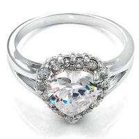 Sterling Silver Fancy Heart Shaped two plus ctw CZ Ring