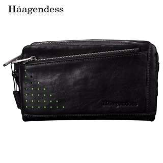 New Brand Genuine Leather Mens Black Casual Clutch Bag