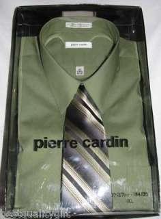 PIERRE CARDIN OLIVE GREEN DRESS SHIRT+TIE L+XL NEW+BOX
