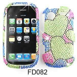 Samsung Messager Touch SCH R630 Full Diamond Crystal, Two Green Hearts