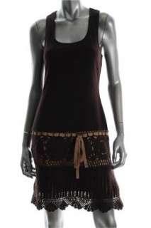 FAMOUS CATALOG Moda Brown Casual Dress Crochet Sale M |