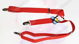 Cartoon Kid Baby Infants Suspenders adjustable clip Red
