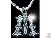 Gothic Letter M Charm Initial Sterling Silver Pendant