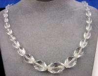 Vintage Graduated Size Facet Cut Crystal Bead Necklace
