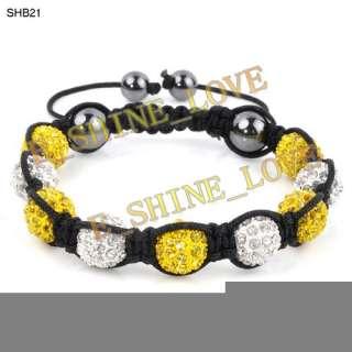 CZ Disco Ball(9Pcs) Crystal Macrame Bracelets+30 Mix Colours