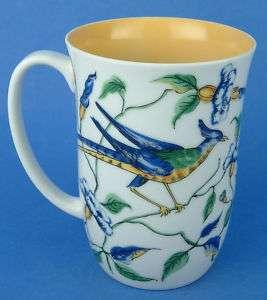 Fitz Floyd Blue Yellow Bird Flowers Mug