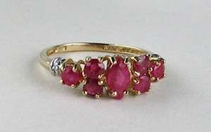 10k Yellow Gold Natural Ruby Cluster Band Ring with Diamonds~Sz 7.25