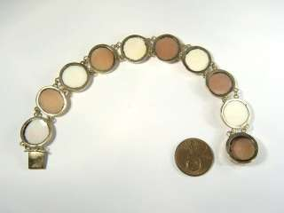 BEAUTIFUL ANTIQUE 9K GOLD SHELL PINK CONCH SHELL CAMEO BRACELET