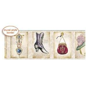 Victorian Accessories Mural Style Wallpaper Border by