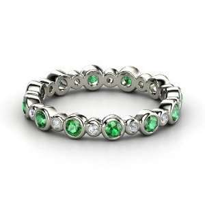 Heartbeat Band, 14K White Gold Ring with Emerald & Diamond