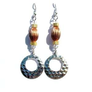 com Silver Copper and Gold Tone and Austrian Crystal Dangle Earrings