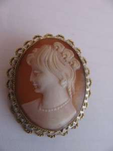 French Vintage 800 Silver Gold Gilt Hand Carved Shell Cameo Brooch