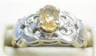 Citrine and Diamond Accented 14K Multi Tone Solid Gold Ring ~ 4