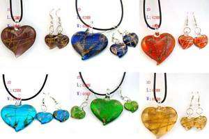 Wholesale 6 sets Heart Murano Glass Pendant Necklace Earrings Cute