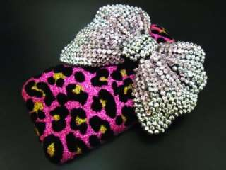 Bling Crystal Velvet Leopard Pink Silver Bow Case Cover for iphone 3G