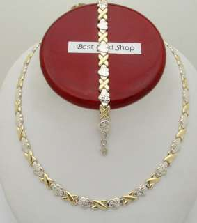 Diamond Cut Heart & Kisses Necklace 10K Yellow Gold