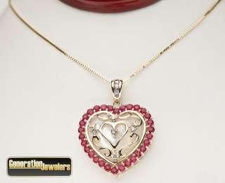 Dazzling Diamond and Ruby Heart Pendant 14K Yellow Gold Free Insured
