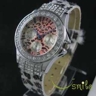 Fashion Crystal Diamond Ladys JP Quartz Womens Leather Strap Quartz