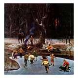 Night Skating, December 16, 1944 Giclee Print by John Falter