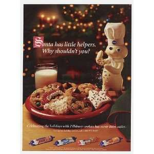 1996 Pillsbury Doughboy Christmas Cookies Santa Helper Print Ad