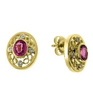 14k Yellow Gold 1.78 Ct Pink Sapphire & 0.15 Ct Diamond