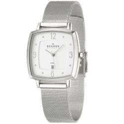 Skagen Womens Mesh Stainless Steel Crystal Quartz Watch