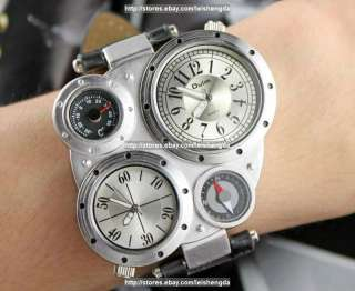 Mens Dual Time Zone Army Military Sport Quartz Watch