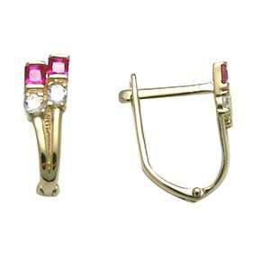 Modern Abstract Flower CZ 14k Yellow Gold Huggie Earrings Jewelry