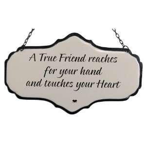 America Retold White Enamel Sign, True Friend, 5.5 x 9
