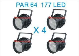 LOT DJ 177 LED LIGHTS RGB PAR 64 DMX STAGE PARTY SHOW 4 PCS