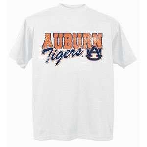 Auburn University Tigers AU NCAA White Short Sleeve T Shirt Medium