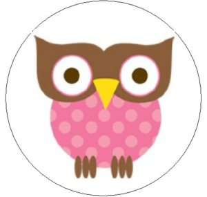 CUTE PINK & BROWN OWL   1 Round Labels Seals/Stickers