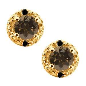 0.54 Ct Round Brown Smoky Quartz and Black Diamond 18k