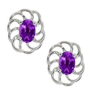 0.90 Ct Oval Purple Amethyst 14k White Gold Earrings