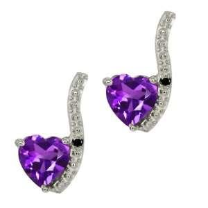 0.81 Ct Heart Shape Purple Amethyst and Diamond 18k White